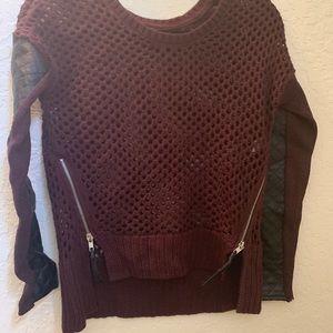 XS Open Weave Burgundy Sweater